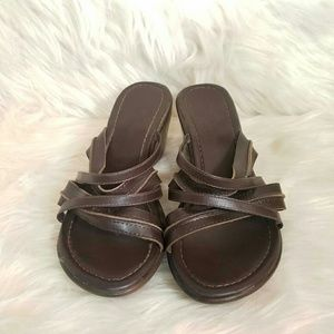Predictions Strappy Leather Wedge Sandal Size 7.5W